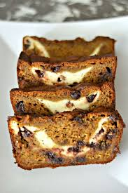 pumpkin banana bread with chocolate chips and cream cheese swirl