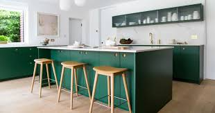 green kitchen cabinets with white island 11 green kitchen cabinet paint colors we swear by