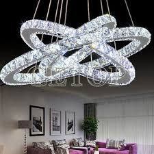 Circular Crystal Chandelier Modern Minimalist Restaurant Living Room Crystal Lamp Circular Led