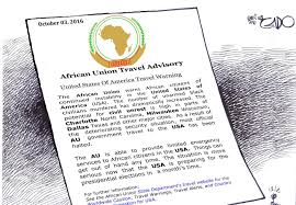 A satirical african union travel warning by gado for africans