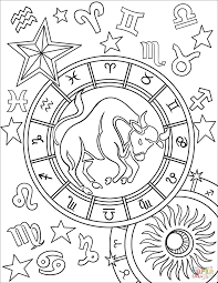 taurus zodiac sign coloring page free printable coloring pages
