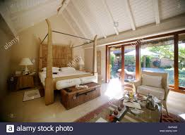 oberoi luxury hotel luxury bungalow with pool sky bed mus stock