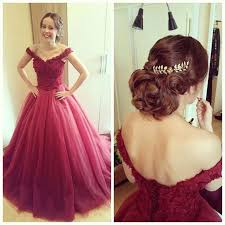 off the shoulder burgundy organza puffy prom party dresses bodice