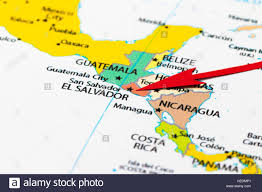 El Salvador On World Map by Red Arrow Pointing El Salvador On The Map Of South Central