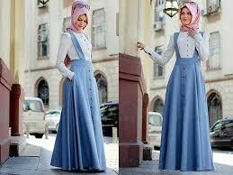 rok muslimah busana muslim atasan rok denim cantik terbaru murah