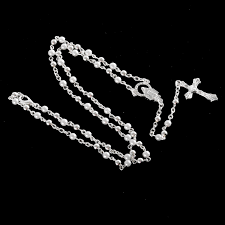 catholic rosary necklace 18k gold plated trendy rosary necklace for mens women