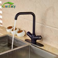 kitchen faucets oil rubbed bronze finish thermostatic kitchen faucet one hole double handles oil rubbed