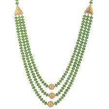 crystal bead necklace images Buy three layer green crystal beads necklace with gold polish jpg