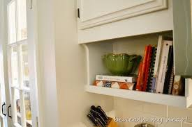 Kitchen Cabinet Shelves by Our Diy Under The Cabinet Cook Book Holder Beneath My Heart