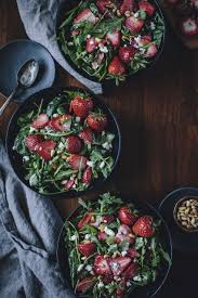 strawberry spinach and arugula salad with lighter poppy seed