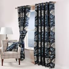 Blue Floral Curtains Scatter Box Maisey Floral Jacquard Eyelet Curtains Ebay Navy Blue