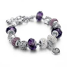 silver plated bracelet charms images Silver plated crystal murano beads charm bracelet jpg