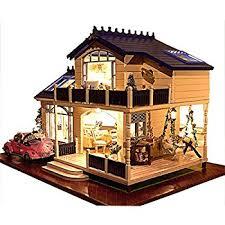 Free Miniature Dollhouse Plans Beginner by Amazon Com Robotime Dollhouse Kit Miniature Diy Library House