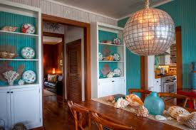 Stained Beadboard Dining Room Tropical With Bright Blue Bead Board - Beadboard dining room