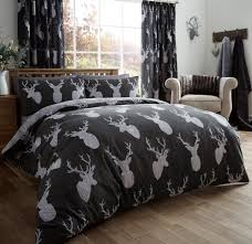 vintage stag head print duvet quilt cover deer antlers bedding set stag head