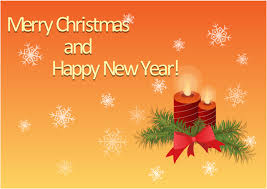 merry and happy new year greetings card candles