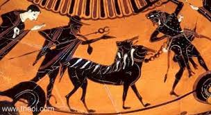 Greek Black Figure Vase Painting Cerberus U0026 Heracles Ancient Greek Vase Painting