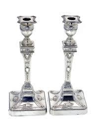 pair of adam style silver candlesticks c 1901 460267