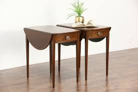 drop leaf end table sold pair dropleaf pembroke oval vintage l or end tables or
