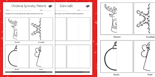 symmetry worksheet christmas symmetry patterns