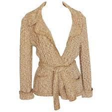 wrap cardigan sweater chanel 06p oatmeal boucle knit wrap cardigan sweater with belt