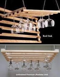 5 row wooden hanging wine glass rack