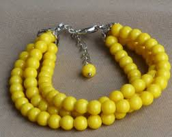 yellow pearl bracelet images Yellow bead bracelet etsy jpg