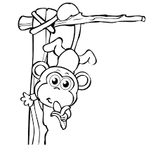 happy monkey coloring pages with banana coloringstar