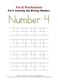 writing number 4 worksheet pre k worksheets org