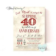 surprise 40th anniversary invitation ruby red wedding