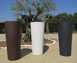 vaso resina bianco vaso tondo moderno liscio 纔38xh 85 cm in resina cache pot bianco