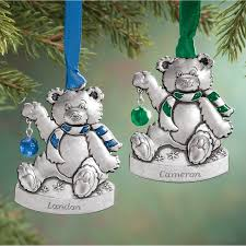 Birthstone Ornament Personalized Pewter Birthstone Bear Ornament Miles Kimball