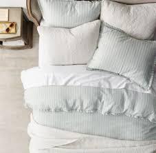 vintage washed linen cotton stripe duvet cover