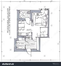 Studio Apartment Floor Plans Architectural Professional Vector Sketch Floor Plan Stock Vector