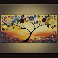 painting abstract trees landscape painting colorful blooming trees
