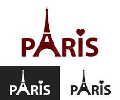 paris black and white decorative lettering tower eiffel with