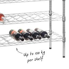 chrome wine rack with 5 shelves that holds 45 bottles of wine