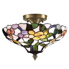 Flush Mount Stained Glass Ceiling Light Globe Electric Jackson 1 Light Antique Brass And Brown Flush Mount