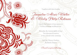wedding invitations designs rectangle landscape white red floral
