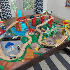 waterfall station train set u0026 table in espresso