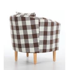 Check Armchair Fabric Tub Chairs Deluxe Check Fabric Tub Chair Armchair Brown