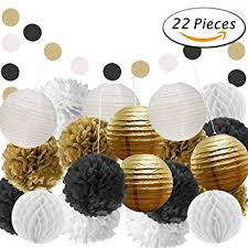 black and gold party decorations paxcoo 22 pcs black and gold party decorations with tissue paper