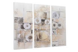 Wohnzimmerm El Trends Abstraktes Acryl Bild In Beige Dreiteilig Kunstloft