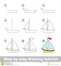 drawing tutorial how to draw a boat stock vector image 65467122