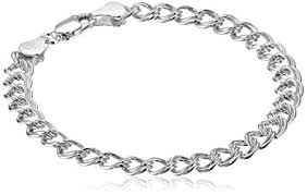 bracelet chain images Sterling silver double link chain bracelet 7 quot clothing jpg