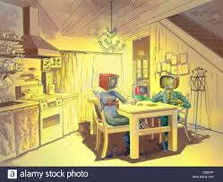 tv couple at dining table stock photo royalty free image