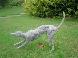 metal sculpture by artist lucia corrigan titled greyhound