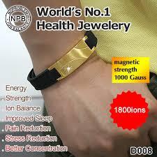 magnetic silicone bracelet images B9008 noproblem gold antifatigue infrared ion scalar energy power jpg