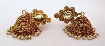 bridal jhumka earrings indian gold plated kundan pearl party bridal jhumka earrings pair