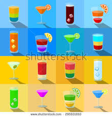 set themed cocktails transparent glasses stock vector
